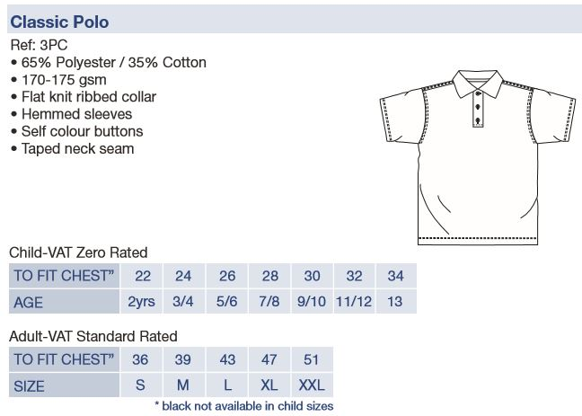 polo shirt size chart